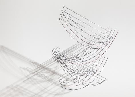 Elias Crespin, La Danza de las catenarias, 2019. Aluminum, wool, motors and electronic interface, 6 11/16 x 51 1/8 x 29 7/8 in. (17 x 130 x 76 cm.)