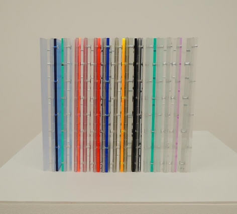 Marta Chilindron, Cube 12 Multicolor, 2014. Acrylic, 12 in. x 12 in. x 12 in.