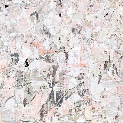 "Gabriel de la Mora, Alvaro Obregon 148, 2012, Torn posters, fixed with resistol on canvas, mounted on wood, 78 3/4"" 78 3/4"" x 1 9/16"""