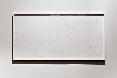Marco Maggi, Plexi Line, 2013. X-Acto knife cuts on polycast Plexiglas, 62 in. x 32 in.