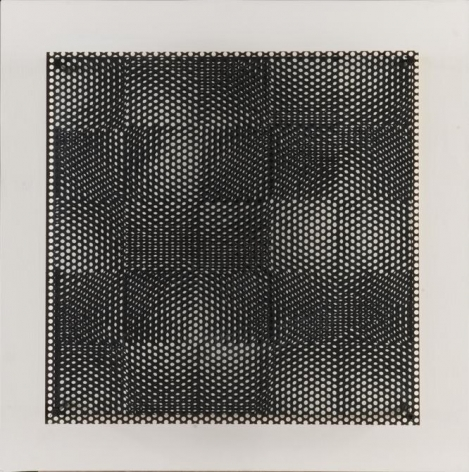 Antonio Asis, Untitled from the series Pequeños Cuadrados Negro y Blanco, 1971. Acrylic on wood and metal, 26 x 26 x 6 1/4 in. / 66 x 66 x 15.8 cm.