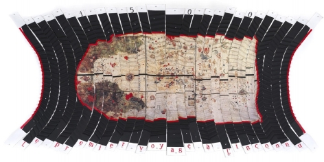 Miguel AngelRíos,Le premier voyage a l'inconnu, 1993-1994.Cibachrome pencil and acrylic mounted on pleated canvas with push pins,125 15/16 x 62 15/16 in. (320 x 160 cm.)