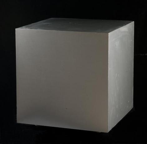 Antonio Asis, Cube No. 4, 1969. Aluminum, wood, springs, 15 3/4 in. x 15 3/4 in. x 15 3/4 in.