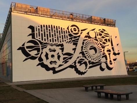 Pablo Siquier,1404, 2014,Enamel on wall,32.8 x 78.7 ft. Tecnópolis, Buenos Aires, Argentina
