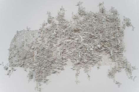Zona Prigogine/Zadeh. Estructura Disipativa Borrosamente Coherente, 2018 Cut out paper. 45 x 42 x 31 in. (114.3 x 106.7 x 78.7 cm.)