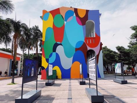 , Graciela Hasper, Untitled, 2020. Paint on wall. 30 X 37 feet. XXI Bienal Internacional De Arte De Santa Cruz De La Sierra, Santa Cruz, Bolivia.