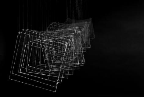 Elias Crespin, Tetralineados Transparente, 2010. Plexiglass, nylon, motors and electronic interface, 7 13/16 x 61 x 7 13/16 in. (20 x 155 x 20 cm.)