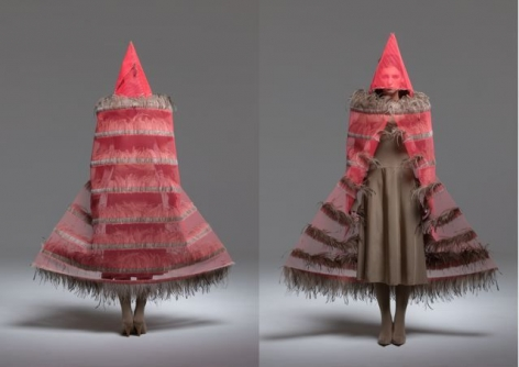 Maria Fernanda Cardoso, Fluro Orange, 2006-2008. Fiberglass net, emu feathers, glue, metal and polyester fabric, Variable dimensions.