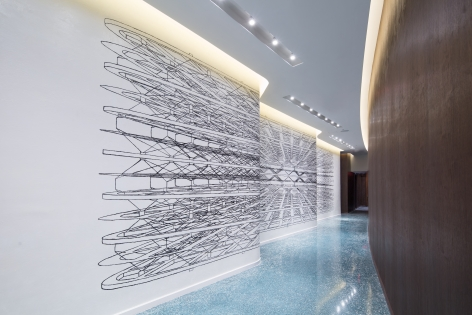Pablo Siquier,1517, 2015, Oil on wall,13.1 x 49.2 ft. One Ocean Building, Miami, FL
