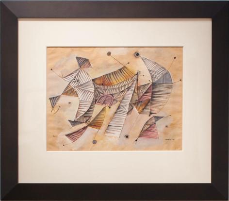 José Gurvich, Formas Danzantes, 1966. Ink and tempera on paper, 13 1/4 x 18 3/4 in. / 33.6 x 47.6 cm.