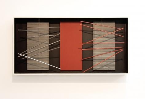 Jesús Rafael Soto, Vibración, Bastones con Rojo, 1964. Mixed media, polychromed wood and metal, 20 1/16 x 40 5/32 x 5 3/32 in. (51 x 102 x 13 cm.)