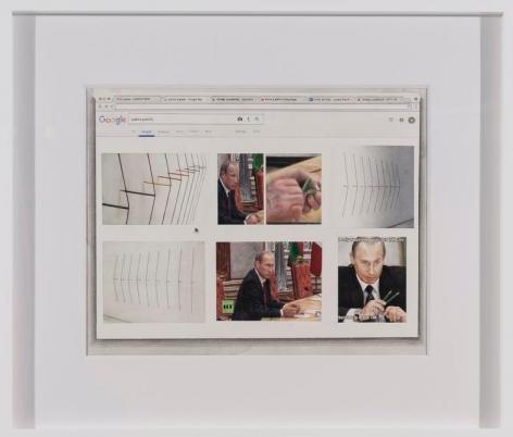 Marco Maggi, Complete Coverage on Putin's Pencils, 2017. Watercolor on paper, 20 x 17 in. / 50.8 x 43.2 cm.