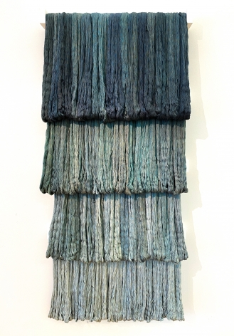"""Sandra Monterroso, Expoliada III. From the series """" Wounds can also be dyed blue."""", 2016. Yarn dyed with indigo and wood., 70 13/16 x 31 1/2 x 4 11/16 in."""