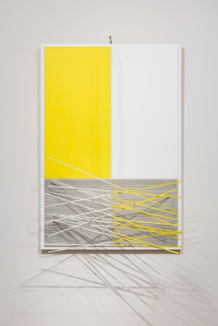 Jesús Rafael Soto, Barres et Rectangles Jaunes et Blancs, 1965. Acrylic on board with aluminum rods and nylon wire, 62  x 42 1/2 x 23  in.