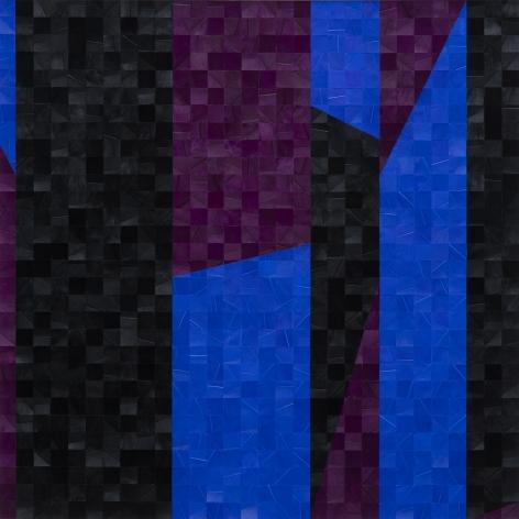 Gabriel de la Mora, 943 I (detail), 2020. Pigmented turkey feathers on museum cardboard, 16 7/8 x 16 7/8 x 1 9/16 in. (43 x 43 x 4 cm.)