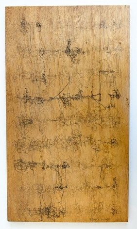 León Ferrari, Untitled, 1962. Graphite on wood, 14 9/16 x 8 1/2 in. / 37 x 21.5 cm.