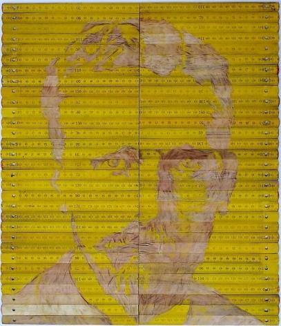 Pedro Tyler, Vincent Van Gogh, 2012. Bas-relief, wooden rulers, 16.9 in. x 19.7 in.