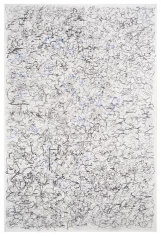 León Ferrari, Untitled 15/01/10, 2010. Charcoal, ink, and graphite on canvas, 59 x 39 1/2 in. / 150 x 100 cm.