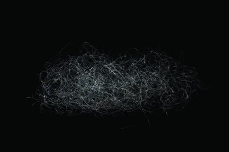 Gabriel de la Mora, M.E.T.A.M  II, 2008. Tied human hair (METAM) on paper in acrylic box, 6 x 12 x 12 in.  / 15.2 x 30.4 x 30.4 cm.