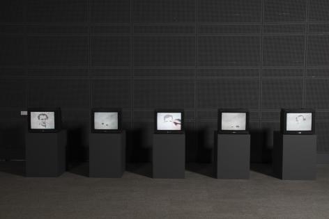 OscarMuñoz,Proyecto para un memorial [Ed. of 5 + 2 AP], 2004-2005. 5 videos, nosound,7:30 min. ExhibitionSilent,Hiroshima City Culture Foundation, Hiroshima, Japan, 2009.