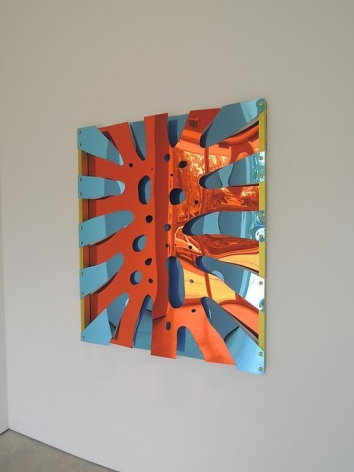 Thomas Glassford, Untitled, 2014. Mirrored Plexiglas and anodized aluminum, 48 in. x 41 5/16 in. x 2 3/4 in.