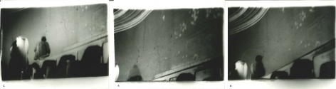 Miguel Ángel Rojas. Serie Faenza: Solitario [A lonely man], Triptych, 1979. Vintage silver gelatin prints, 3 1/2 x 5 in. (8.9 x 12.7 cm.) each