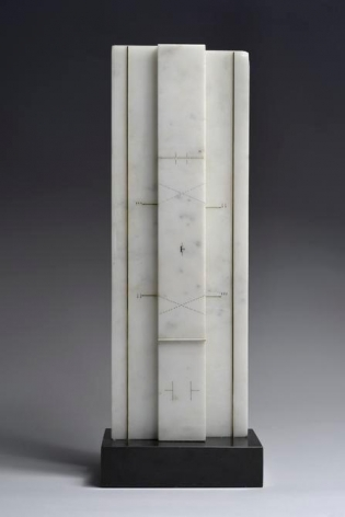 Marie Orensanz, condensar, 1986. Drawing and mixed media on marble, 19 11/16 in. x 7 1/16 in. x 2 in.