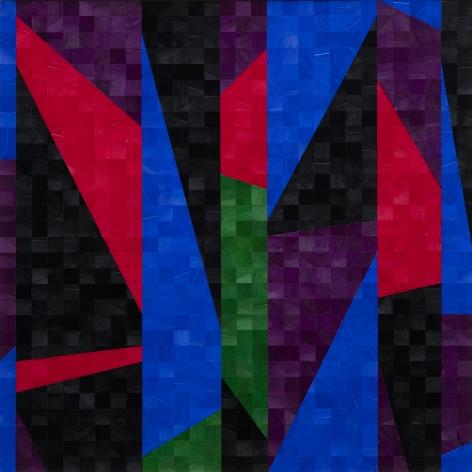 Gabriel de la Mora, 1,076 I, 2020. Pigmented turkey feathers on museum cardboard, 16 7/8 x 16 7/8 x 1 9/16 in. (43 x 43 x 4 cm.)