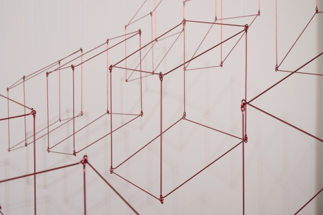Elias Crespin, Gran 16 cubos rojos (detail), 2020. Painted aluminum, nylon, motors and electronic interface, 71 5/8 x 71 5/8 in. (182 x 182 cm.)