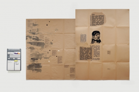 Eugenio Dittborn, Viajar, sin Embargo/ Airmail Painting No. 178, 1986-2007, Tincture, buttons, ink and photosilkscreen on 2 sections of kraft paper, 80 x 115 1/2 in. (203.2 x 293.4 cm.)