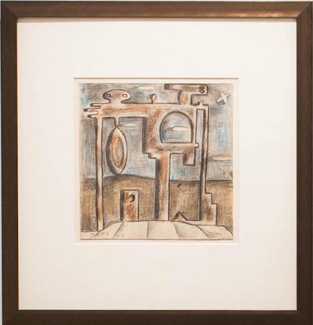 Francisco Matto, Formas - proyecto de monumento, 1979. Pencil, crayon, and watercolor on paper, 8 1/2 x 8 1/2 in. / 21.6 x 21.6 cm.