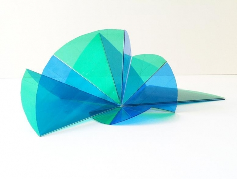 """Marta Chilindron, Spiral 7, 2014. Acrylic, 76"""" overall, 40"""" high."""