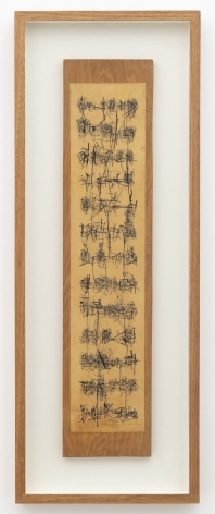 León Ferrari. Sin Título, 1962. Ink on paper and wood, 27 9/16 x 5 29/32 in. (70 x 15 cm.)