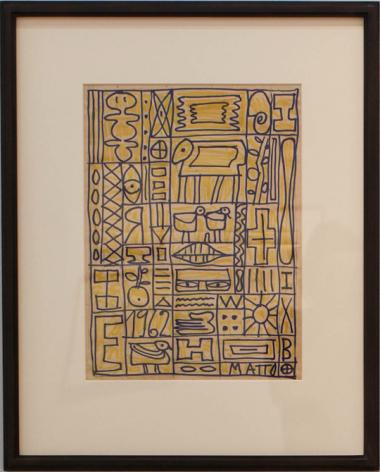 Francisco Matto, Constructivo en amarillo y azul, 1962. Magic marker on paper, 15 x 11 in. / 38 x 28 cm.