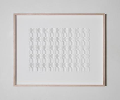 Gabriel de la Mora, CI / 940 III, 2017. Microscope coverslips on cardboard, 41 x 33 x 3 1/8 in. / 104.1 x 83.8 x 7.9 cm.