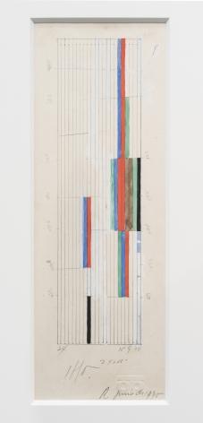 Alejandro Otero, Boceto para Tablón 45, 1973. Graphite and gouache on paper, 7 13/16 x 2 1/8 in. (20 x 5.5 cm.)