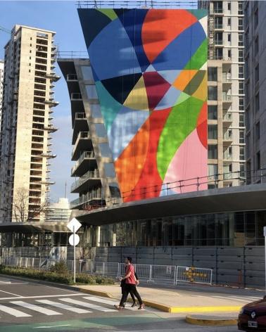 , Graciela Hasper,SLS Puerto Madero, Buenos Aires, 2019. Paint on wall. 42 x 114 feet.