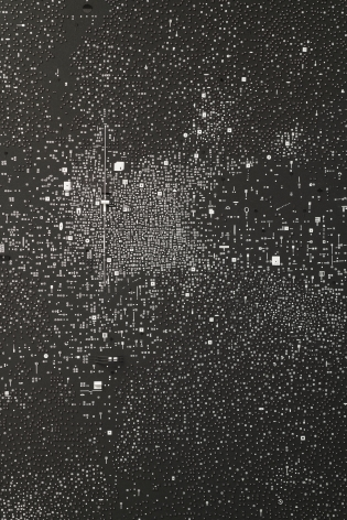 Marco Maggi, No visual distancing (Black), detail, 2021. Paper on paper on paper, 36 x 24 in. (91.4 x 61 cm.)
