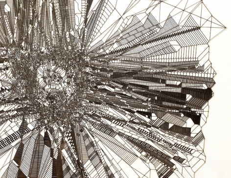 """Gustavo Díaz, De la Serie: """"El acumulador de crepúsculos"""". El primer crepúsculo. (detail), 2019. Cut paper, 18 5/8 x 18 5/8 in."""