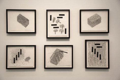 Miguel Angel Ríos, Drawings from the series Endless, 2015. Ink and pencil on paper and cut out, 14 1/8 x 11 in. each