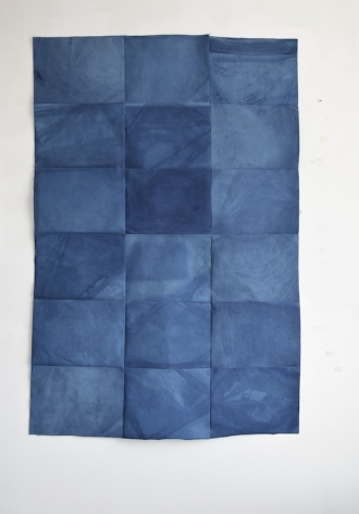 """Sandra Monterroso, Tejido 5, Azul Maya. From the series """" Wounds can also be dyed blue."""", 2020. Canvas dyed with indigo and acrylic, and painted with acrylic and yarn, 66 1/8 x 46 1/16 x 12 15/16 in."""