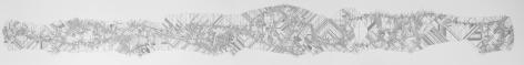 Observando dentro de la línea, en algún nivel existe un patrón. Prigogine mira..., from the series Acumulación de autoligaduras. [AA1] , 2018. Cut out paper. 13 5/8 x 86 3/16 x 1 3/4 in. (34.6 x 218.9 x 4.4 cm.)