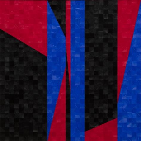 Gabriel de la Mora, 992 II, 2020. Pigmented turkey feathers on museum cardboard, 16 7/8 x 16 7/8 x 1 9/16 in. (43 x 43 x 4 cm.)