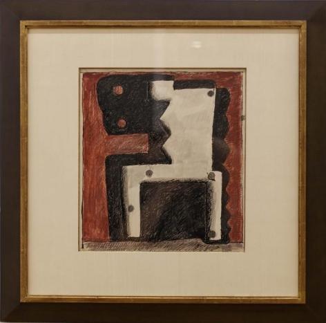 Augusto Torres, Formas negra y blanca sobre rojo, 1977. Ink and tempera on paper, 14 3/4 x 13 3/8 in. / 37.5 x 33.7 cm.
