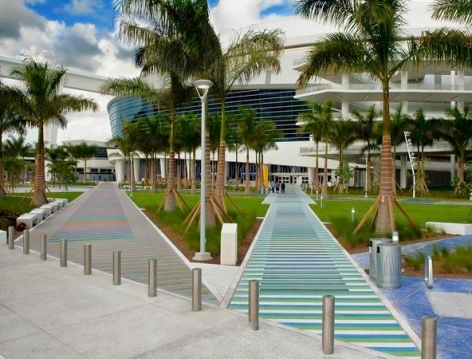 Carlos Cruz-Diez, Chromatic Induction in a Double Frequency, 2012, Marlins Stadium, Miami, Florida