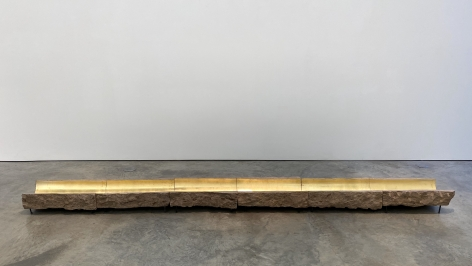 Thomas Glassford, Locus Classicus, 2018. Stone and gold leaf, 8 1/2 x 149 x 14 1/2 in.