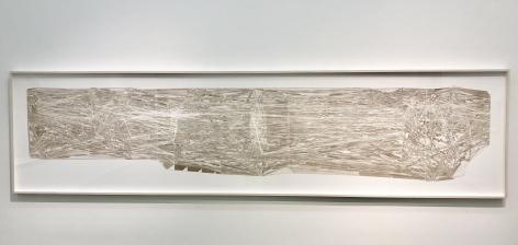 Estructura Autoincluida Recurrente en el Tiempo H, donde el polvo es línea y es polvo. (E.A.R.T.H. - H.E.A.R. - R.H.E.) - Rizoma Henkin Extraño, 2018.Cut out paper.44 x 195 1/2 x 6 in. (111.8 x 496.6 x 15.2 cm.)