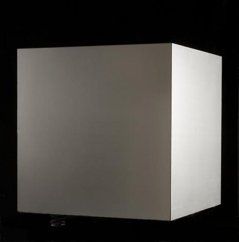 Antonio Asis, Cube No. 5, 1969. Aluminum, wood, springs, 23 5/8 in. x 23 5/8 in. x 23 5/8 in.