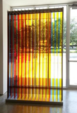 Carlos Cruz-Diez, Transchromie Dames A, 1965/2009. Plexiglas, brushed stainless steel, 102.5 in. x 61 in. x 14.5 in.