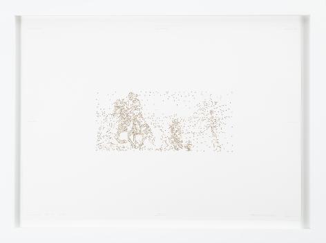 Miguel Ángel Rojas, Go on, 2000. Cut coca leaf, 19 1/3 x 27 1/2 in.